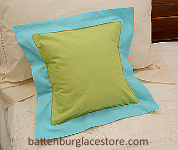 "Pillow Sham 12"" Square. MACAW Green with Aqua Blue color border"